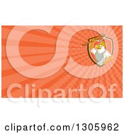 Clipart Of A Retro Cartoon Bald Eagle Plumber Holding A Monkey Wrench And Orange Rays Background Or Business Card Design Royalty Free Illustration
