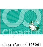 Clipart Of A Retro Male Mechanic Holding A Wrench Over His Shoulder And Turquoise Rays Background Or Business Card Design Royalty Free Illustration