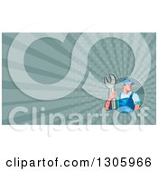 Clipart Of A Retro Low Poly Male Mechanic Holding A Spanner Wrench And Rays Background Or Business Card Design Royalty Free Illustration
