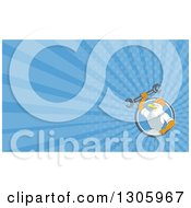 Clipart Of A Retro Cartoon Bald Eagle Mechanic Holding A Wrench And Blue Rays Background Or Business Card Design Royalty Free Illustration