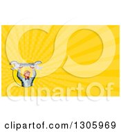Clipart Of A Retro Low Poly Male Mechanic Holding Up A Spanner Wrench And Yellow Rays Background Or Business Card Design Royalty Free Illustration