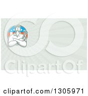 Clipart Of A Retro Male Mechanic Holding A Wrench With Folded Arms In An American Circle And Rays Background Or Business Card Design Royalty Free Illustration