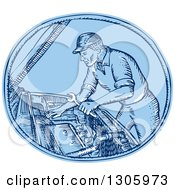 Clipart Of A Blue Sketched Or Engraved Mechanic Working On A Cars Engine In An Oval Royalty Free Vector Illustration