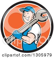 Clipart Of A Cartoon Happy White Male Mechanic Holding A Giant Wrench Over His Shoulder And Emerging From A Black White And Orange Circle Royalty Free Vector Illustration