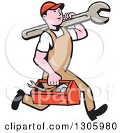Clipart Of A Cartoon Happy White Male Mechanic Running And Carrying A Tool Box And Giant Wrench Royalty Free Vector Illustration