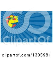 Clipart Of A Retro Yellow Cricket Batsman In A Red Shield And Blue Rays Background Or Business Card Design Royalty Free Illustration by patrimonio