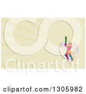 Clipart Of A Retro Low Poly Cricket Batsman And Pastel Green Rays Background Or Business Card Design Royalty Free Illustration