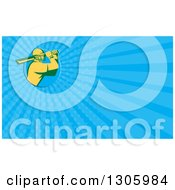 Clipart Of A Retro Yellow Cricket Batsman And Blue Rays Background Or Business Card Design Royalty Free Illustration by patrimonio