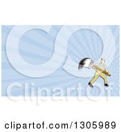 Poster, Art Print Of Retro Cartoon White Male House Painter With A Giant Brush And Pastel Blue Rays Background Or Business Card Design