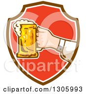 Clipart Of A Caucasian Hand Holding Out A Frothy Beer Mug In A Brown White And Red Shield Royalty Free Vector Illustration