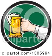 Clipart Of A Caucasian Hand Holding Out A Frothy Beer Mug In A Black White And Green Circle Royalty Free Vector Illustration