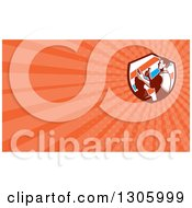 Clipart Of A Retro Male Barber Cutting A Clients Hair With Clippers In A Barber Pole Striped Shield And Orange Rays Background Or Business Card Design Royalty Free Illustration by patrimonio