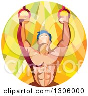 Clipart Of A Retro Low Poly Geometric Male Crossfit Or Gymnast Athlete Doing Kipping Pull Ups On Still Rings Royalty Free Vector Illustration