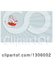 Clipart Of A Retro Male Crossfit Or Gymnast Athlete On Still Rings And Rays Background Or Business Card Design Royalty Free Illustration by patrimonio