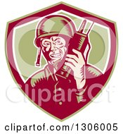 Clipart Of A Retro Woodcut World War Two Soldier Talking On A Field Radio In A Green Maroon And White Shield Royalty Free Vector Illustration