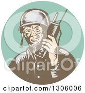 Clipart Of A Retro Woodcut World War Two Soldier Talking On A Field Radio In A Turquoise Circle Royalty Free Vector Illustration