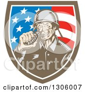 Retro Woodcut World War Two Soldier Biting A Grenade In An American Flag Shield