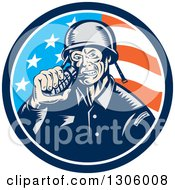 Retro Woodcut World War Two Soldier Biting A Grenade In An American Flag Circle