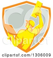 Clipart Of A Rear View Of A Retro Male Plasterer Working With A Trowel And Emerging From An Orange White And Gray Shield Royalty Free Vector Illustration