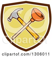 Clipart Of A Cartoon Crossed Plunger And Hammer In A Brown White And Green Shield Royalty Free Vector Illustration