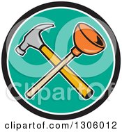 Clipart Of A Cartoon Crossed Plunger And Hammer In A Black White And Turquoise Circle Royalty Free Vector Illustration