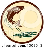 Retro Leaping Atlantic Salmon Fish And Green Water Splash In A Brown And Tan Circle