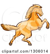 Clipart Of A Young Colt Horse Rearing Or Running Royalty Free Vector Illustration