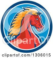 Clipart Of A Red And Orange Young Cold Horse Head In A Blue And White Circle Royalty Free Vector Illustration