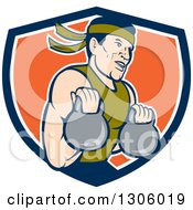 Clipart Of A Cartoon Male Asian Crossfit Athlete Working Out With Kettlebells In A Blue White And Orange Shield Royalty Free Vector Illustration