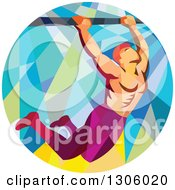 Clipart Of A Retro Low Poly Male Crossfit Athlete Doing Pull Ups On A Bar In A Circle Royalty Free Vector Illustration