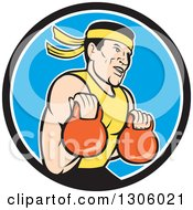 Clipart Of A Cartoon Male Asian Crossfit Athlete Working Out With Kettlebells In A Black White And Blue Circle Royalty Free Vector Illustration