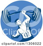 Clipart Of A Retro Strongman Bodybuilder Lifting A Barbell One Handed In A Blue Circle Royalty Free Vector Illustration