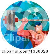 Clipart Of A Retro Low Poly Geometric White Bodybuilder Lifting A Barbell Over His Head In A Circle Royalty Free Vector Illustration