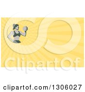 Clipart Of A Retro Muscular Fit Woman Working Out With A Dumbbell And Doing Bicep Curls And Yellow Rays Background Or Business Card Design Royalty Free Illustration