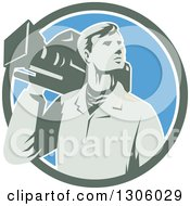 Clipart Of A Retro Male Cameraman Looking To The Side And Emerging From A Green White And Blue Circle Royalty Free Vector Illustration