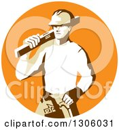 Clipart Of A Retro Stencil Styled Construction Worker Builder Carrying A Spirit Level On His Shoulder In An Orange Circle Royalty Free Vector Illustration