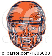 Clipart Of A Sketched Or Engraved Blue White And Orange American Football Player Head In A Helmet Royalty Free Vector Illustration