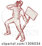 Clipart Of A Sketched Or Engraved Shouting Union Worker Holding A Sign Royalty Free Vector Illustration