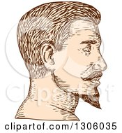 Clipart Of A Sketched Or Engraved Brown And Tan Profiled Mans Face With A Goatee Royalty Free Vector Illustration