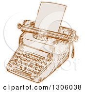 Sketched Or Engraved Retro Typewriter With Paper Loaded