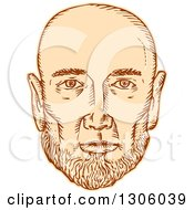 Clipart Of A Sketched Or Engraved Bald Mans Face Royalty Free Vector Illustration