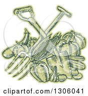 Clipart Of A Sketched Or Engraved Crossed Spade And Pitchfork Over Green Harvest Produce Royalty Free Vector Illustration by patrimonio