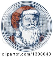 Clipart Of An Engraved Christmas Santa Claus Face In A Circle Royalty Free Vector Illustration