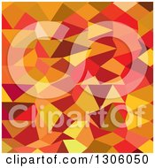Clipart Of A Low Poly Abstract Geometric Background Of Coquelicot Red Royalty Free Vector Illustration