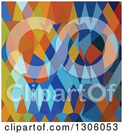 Clipart Of A Low Poly Abstract Geometric Background Of Cerulean Blue Harvest Gold Royalty Free Vector Illustration