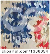 Clipart Of A Low Poly Abstract Geometric Background Of Spanish Blue Red And Beige Royalty Free Vector Illustration