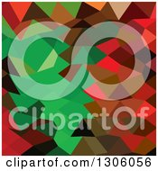 Clipart Of A Low Poly Abstract Geometric Background Of Red And Bice Green Royalty Free Vector Illustration
