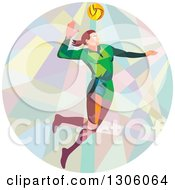 Clipart Of A Retro Low Poly Geometric White Female Volleyball Player Spiking In A Circle Royalty Free Vector Illustration