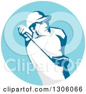 Clipart Of A Stencil Styled Male Golfer Swinging In A Blue Circle Royalty Free Vector Illustration by patrimonio