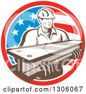 Clipart Of A Retro Male Construction Worker Carrying An I Beam And Emerging From An American Flag Circle Royalty Free Vector Illustration